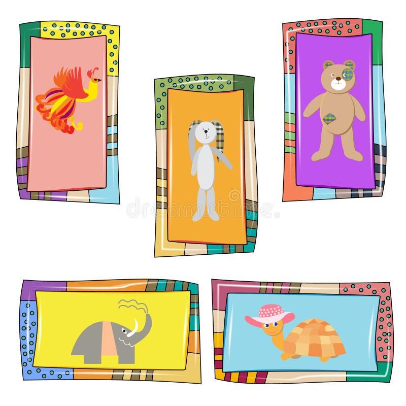 Sistema de 5 tarjetas del bebé con los animales lindos libre illustration