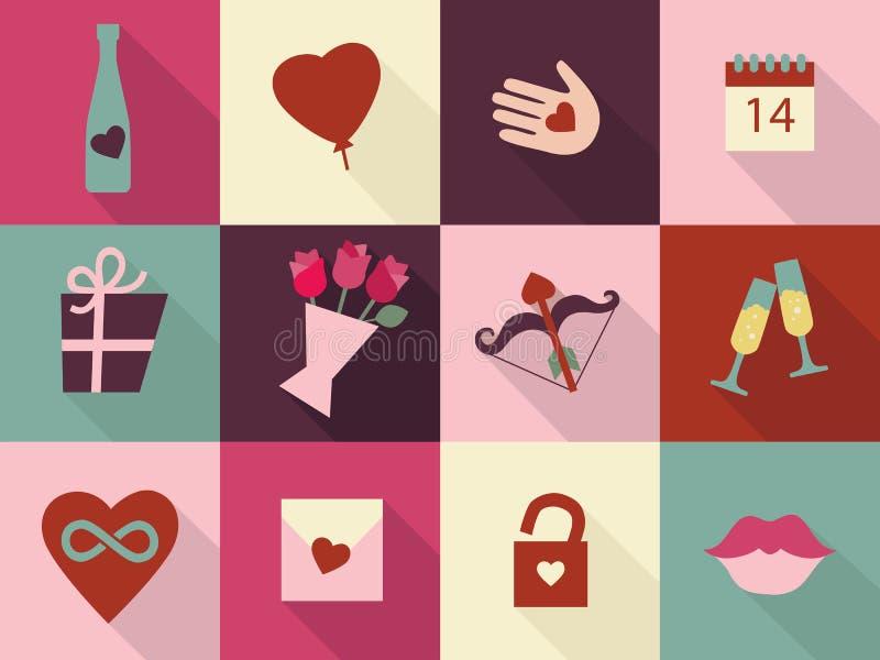 Sistema de tarjetas del día de tarjetas del día de San Valentín Símbolos de los iconos del corazón, corazón a disposición, infini ilustración del vector
