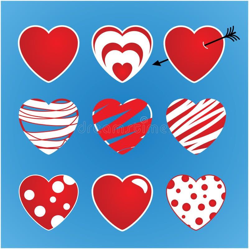 Sistema de tarjetas del día de San Valentín del vector hechas de nueve corazones La tubería colorea rojo y blanco stock de ilustración
