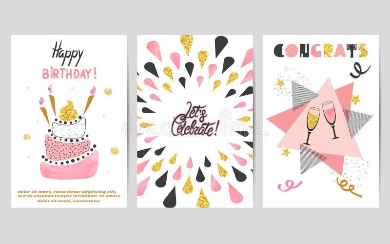 Sistema de tarjetas del feliz cumpleaños en colores rosados, negros y de oro stock de ilustración