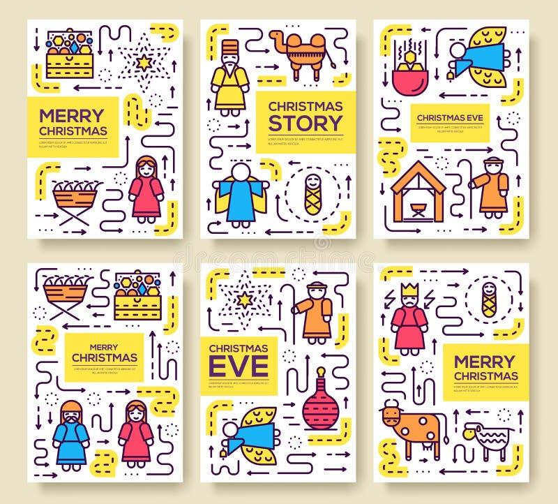 Sistema de tarjetas del folleto del vector de la Feliz Navidad nacimiento de la plantilla de Cristo del aviador, revistas, cartel libre illustration