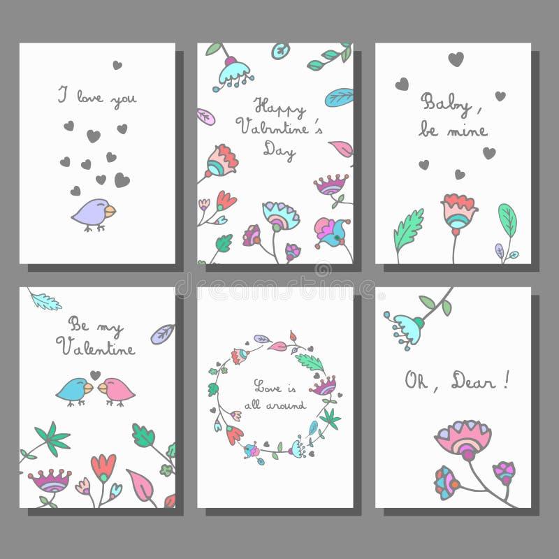 Sistema de tarjetas dibujado mano artística creativa del garabato del día del ` s de la tarjeta del día de San Valentín Ilustraci libre illustration