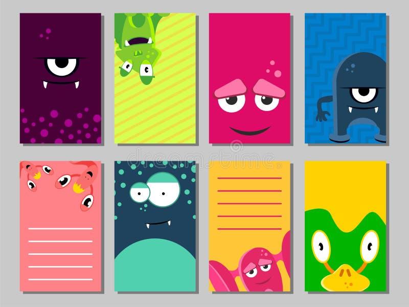 Sistema de tarjetas divertido colorido con los monstruos lindos Plantillas para el cumpleaños, aniversario, invitaciones del part ilustración del vector