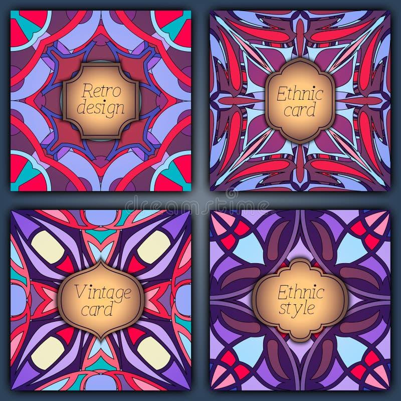Sistema de tarjetas en estilo del vintage Plantillas del diseño del vector Marcos y fondos del vintage ilustración del vector