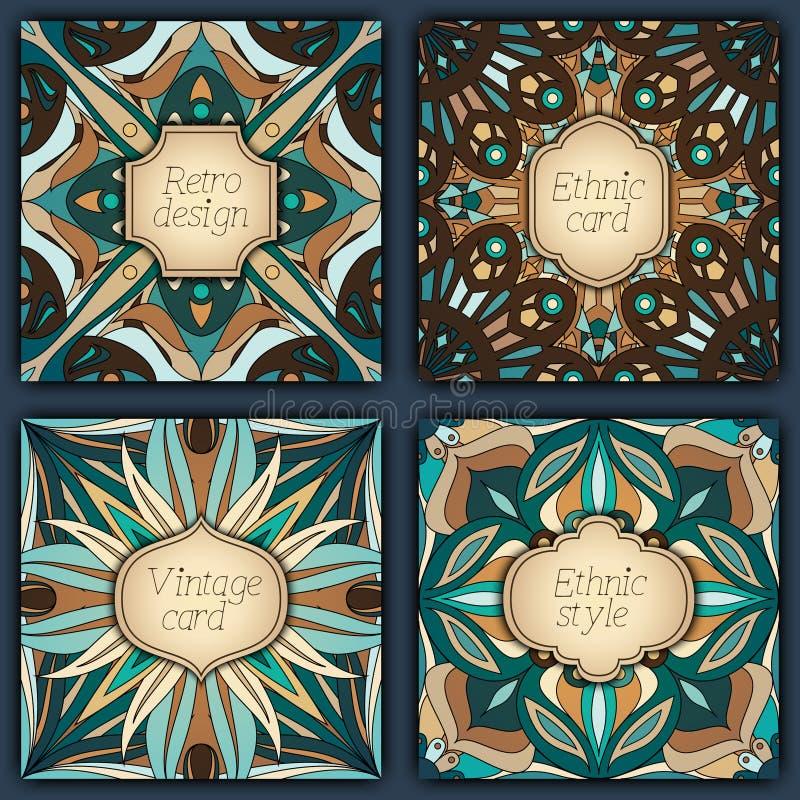 Sistema de tarjetas en estilo del vintage Plantillas del diseño del vector Marcos y fondos del vintage stock de ilustración