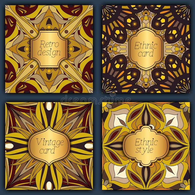 Sistema de tarjetas en estilo del vintage Plantillas del diseño del vector Marcos y fondos del vintage libre illustration