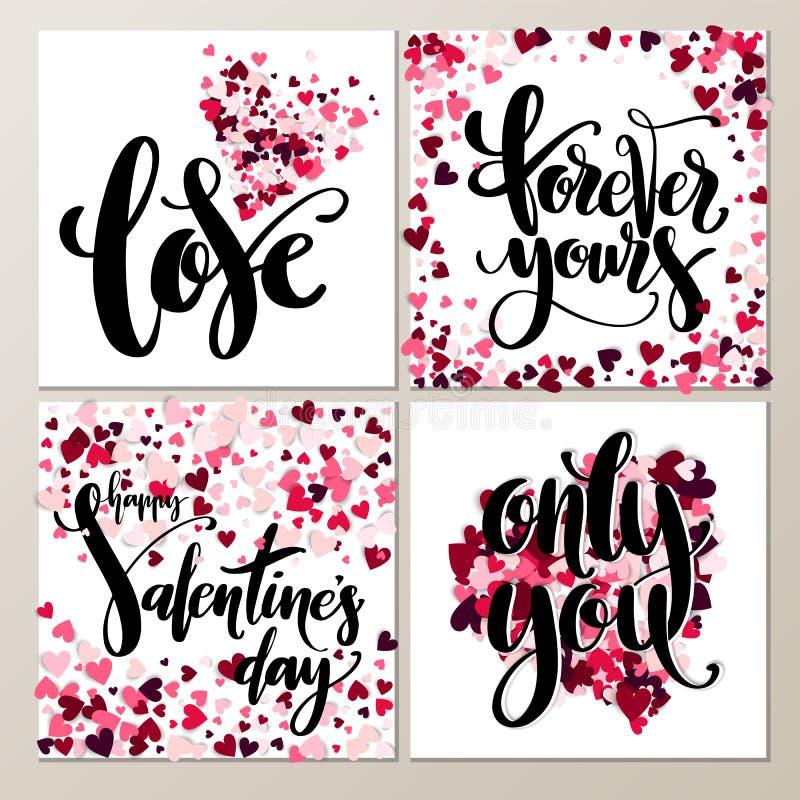 Sistema de tarjetas exhausto de la mano artística creativa del día de la tarjeta del día de San Valentín s Ilustración del vector stock de ilustración