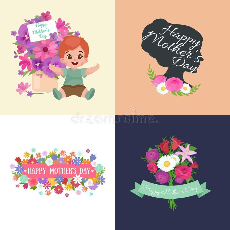 Sistema de tarjetas felices del día de madres con el texto y niños del saludo, bebé y muchacha con el bouqkuet de flores en estil libre illustration