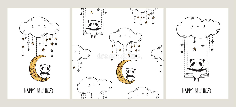 Sistema de tarjetas de felicitación con las pandas lindas en la luna y el oscilación y el modelo inconsútil ilustración del vector