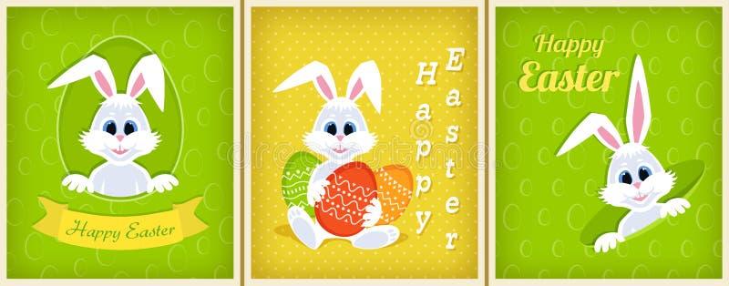 Sistema de tarjetas de felicitación felices de Pascua Conejito de pascua lindo blanco que mira a escondidas de un agujero, cinta, libre illustration