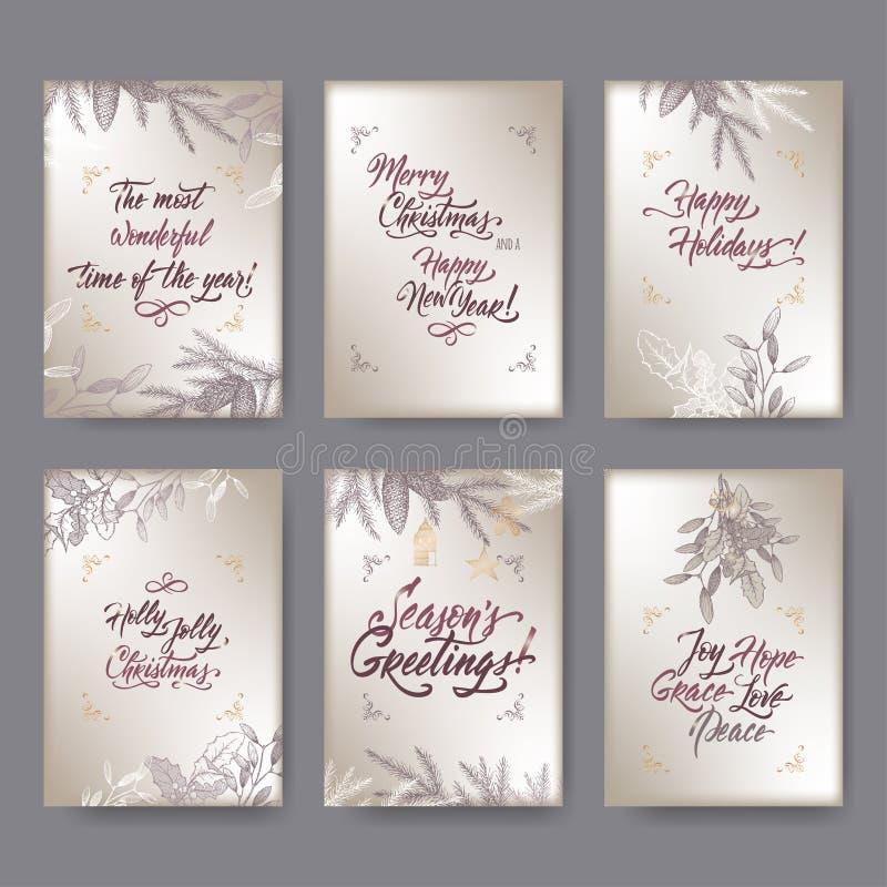Sistema de 6 tarjetas de felicitación de la Navidad del formato A4 con el muérdago, las ramas del pino y las letras del cepillo e libre illustration