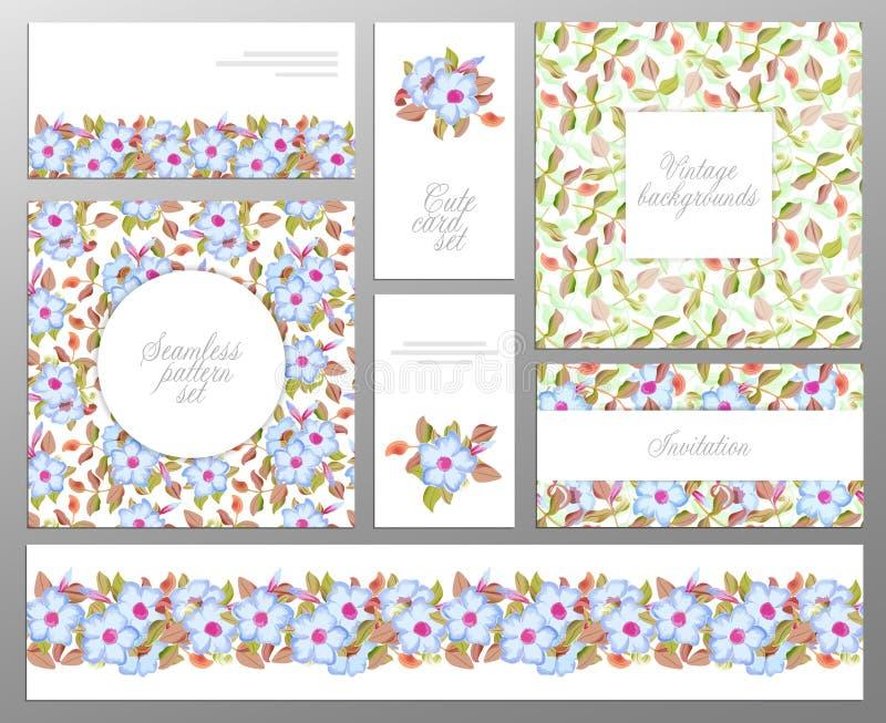 Sistema de tarjetas florales universales creativas ilustración del vector