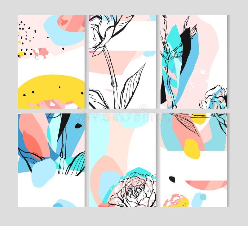 Sistema de tarjetas florales universales creativas con el lugar para su texto Carteles del arte Texturas dibujadas mano Boda, ani ilustración del vector