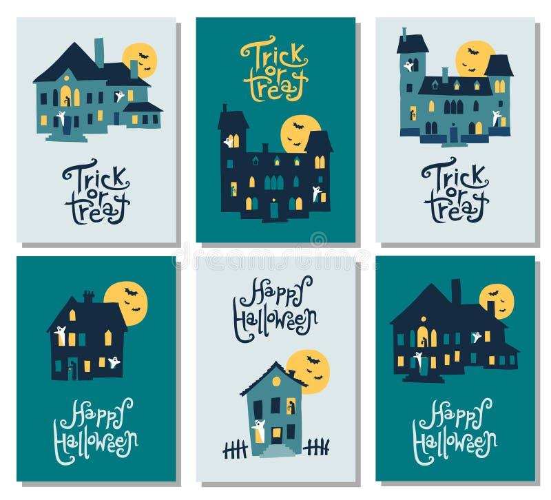 Sistema de 6 tarjetas de Halloween: vaya de fiesta la invitación, saludo, tarjetas, mosca ilustración del vector