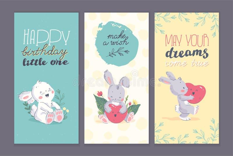 Sistema de tarjetas de la enhorabuena del feliz cumpleaños con los elementos exhaustos de la mano floral, pequeño carácter lindo  stock de ilustración