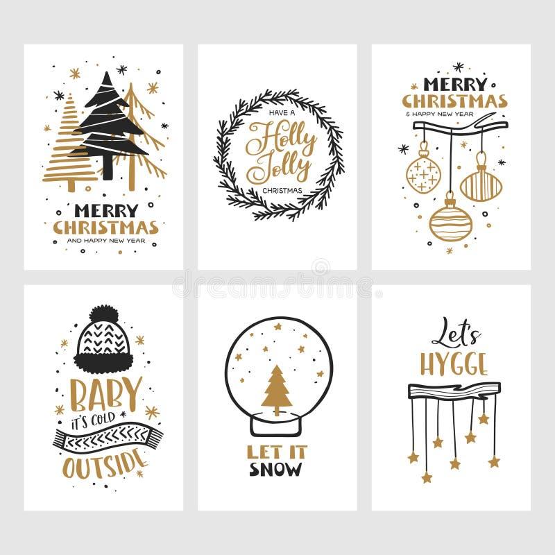 Sistema de tarjetas de la Feliz Navidad y de la Feliz Año Nuevo Ejemplo del vintage del vector ilustración del vector