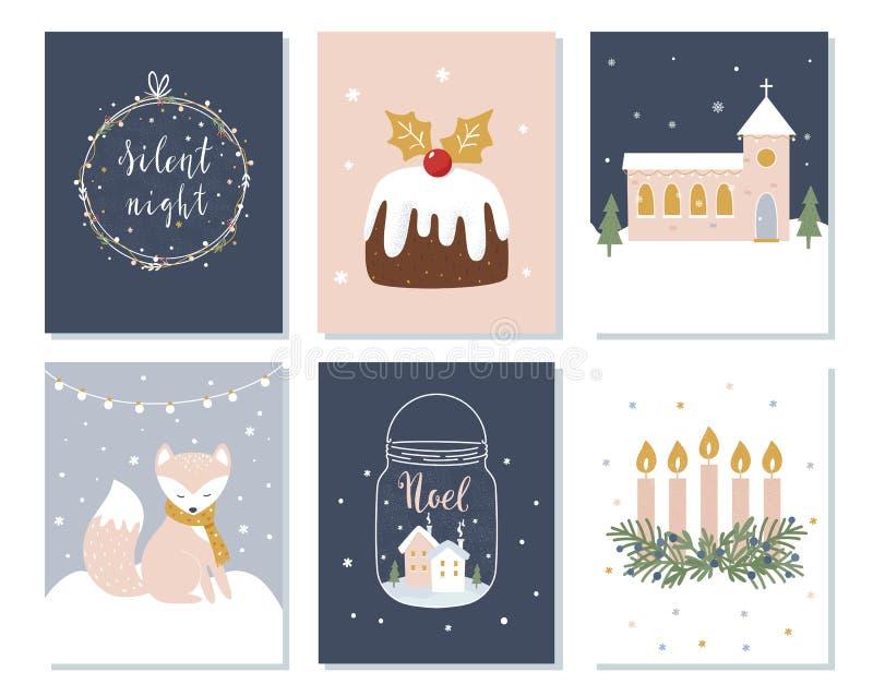 Sistema de tarjetas de la Navidad y de las vacaciones de invierno Muestras de Advent Wreath, de la iglesia y de las letras Ilustr ilustración del vector