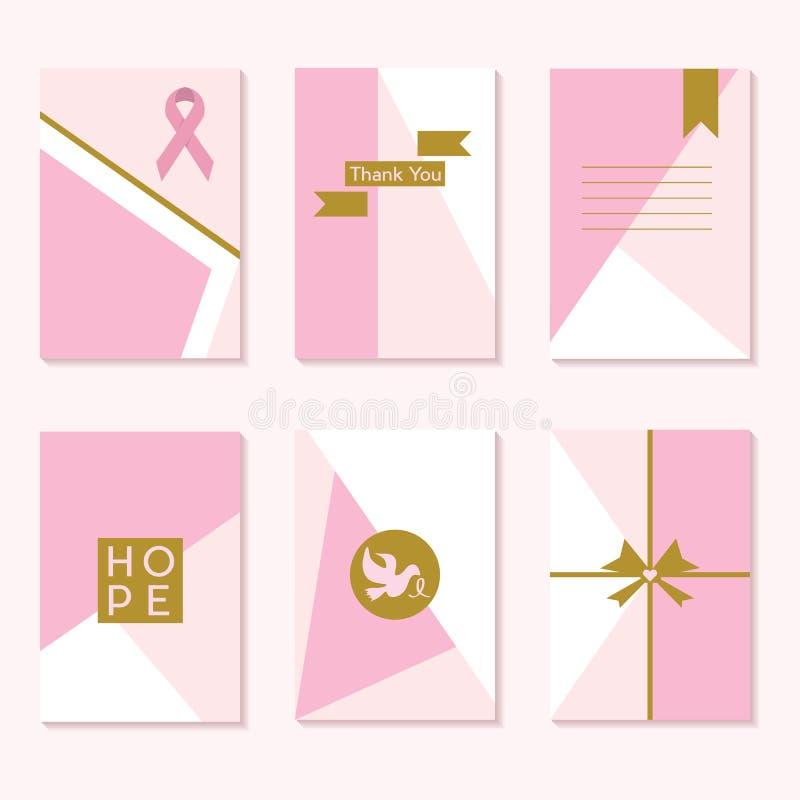Sistema de tarjetas de moda de la plantilla de los fondos de la conciencia rosada linda del cáncer ilustración del vector