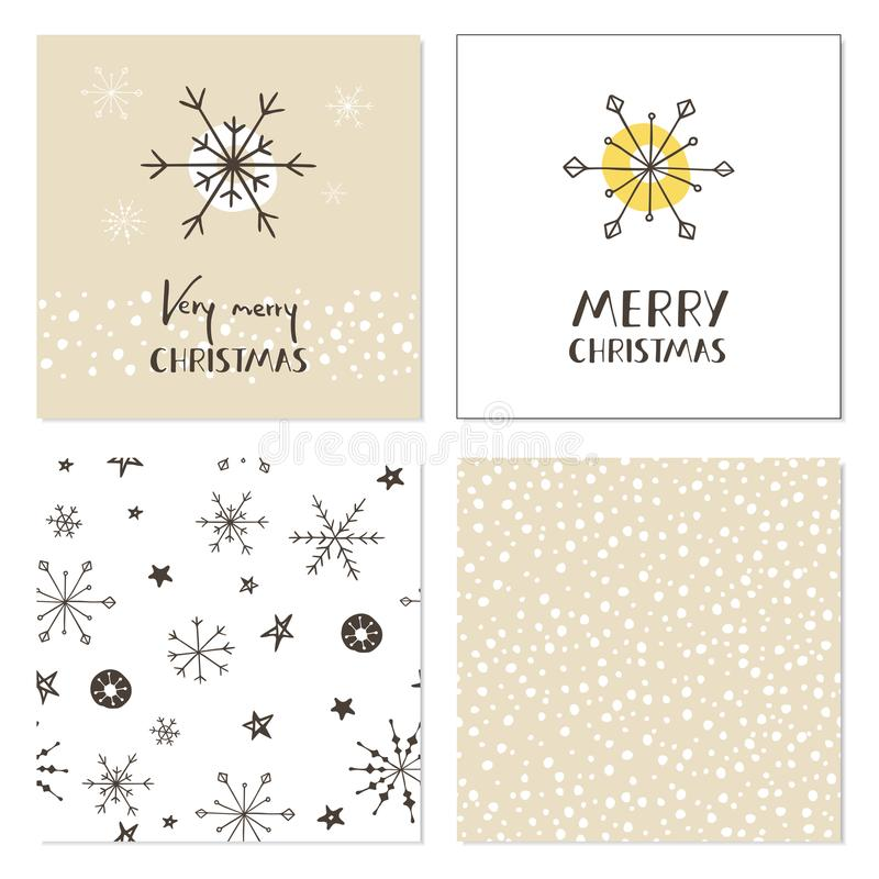 Sistema de tarjetas de Navidad creativas con los copos de nieve, los modelos inconsútiles y las letras dibujadas mano Feliz Navid stock de ilustración