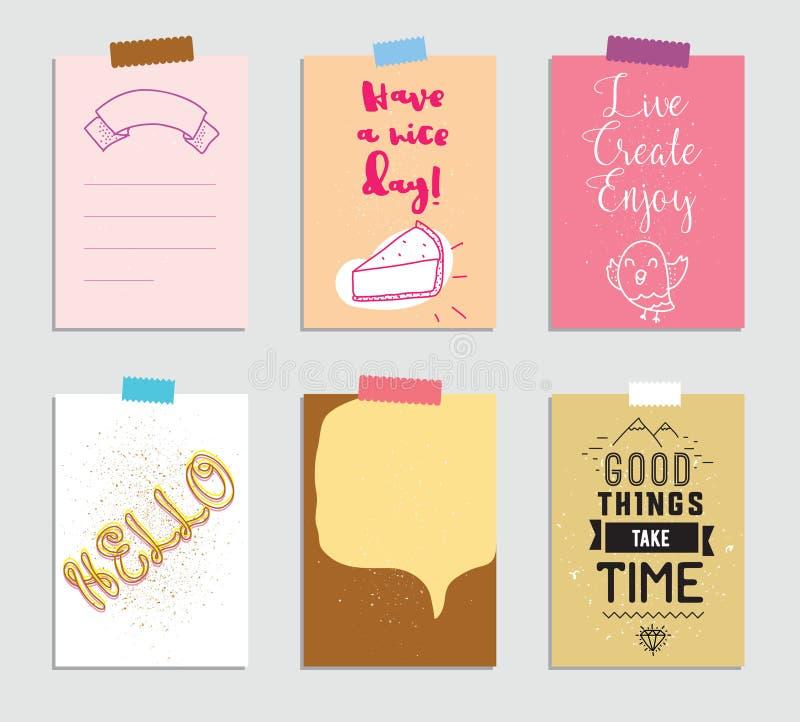 Sistema de 6 tarjetas que meten en diario creativas Ilustración del vector Plantilla para scrapbooking de saludo, planificador, e ilustración del vector