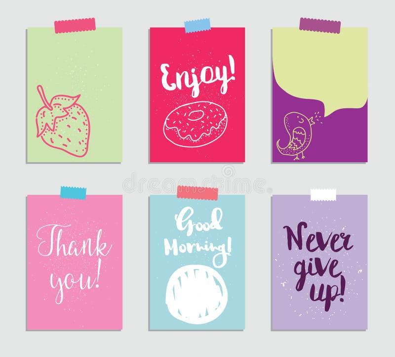 Sistema de 6 tarjetas que meten en diario creativas Ilustración del vector Plantilla para scrapbooking de saludo, planificador, e libre illustration