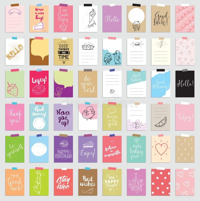 Sistema de 48 tarjetas que meten en diario creativas Ilustración del vector Plantilla para scrapbooking de saludo, planificador,  libre illustration