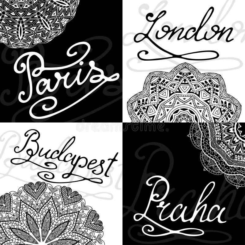Sistema de tarjetas retras, nombres de la ciudad de la caligrafía las Mano-letras simbolizan el ejemplo del vector libre illustration
