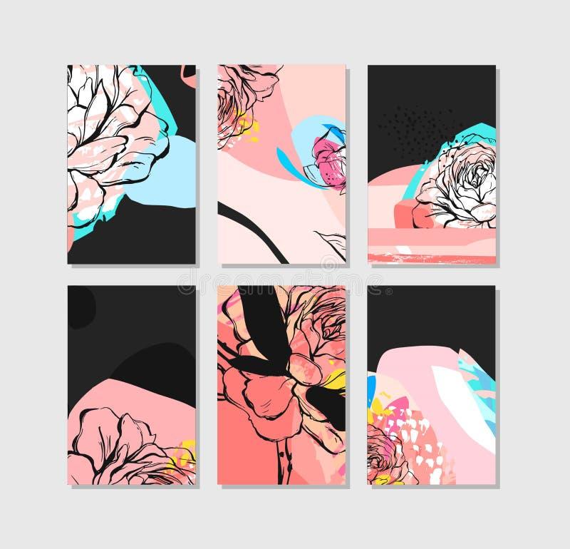 Sistema de tarjetas universales creativas artísticas Texturas dibujadas mano Boda, aniversario, cumpleaños, día de la tarjeta del stock de ilustración