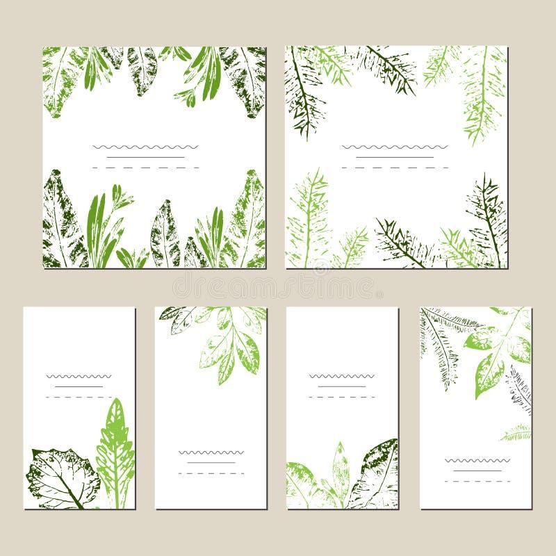 Sistema de tarjetas universales creativas artísticas Texturas dibujadas mano Boda, aniversario, cumpleaños, día de tarjetas del d ilustración del vector