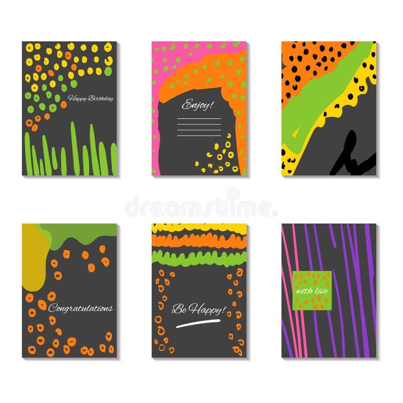 Sistema de tarjetas universales creativas artísticas Vector ilustración del vector