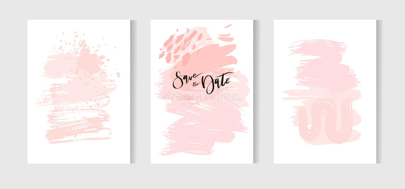Sistema de tarjetas universales creativas Texturas dibujadas mano Boda, aniversario, cumpleaños, día de la tarjeta del día de San libre illustration