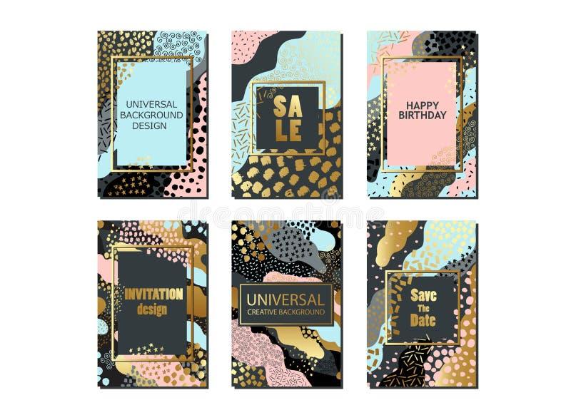 Sistema de tarjetas y de fondo universales con texturas dibujadas mano Para la bandera, cartel, invitación, folleto, aviador stock de ilustración