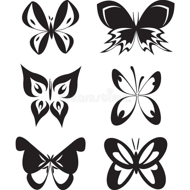 Sistema de tatoo de las mariposas imagen de archivo libre de regalías