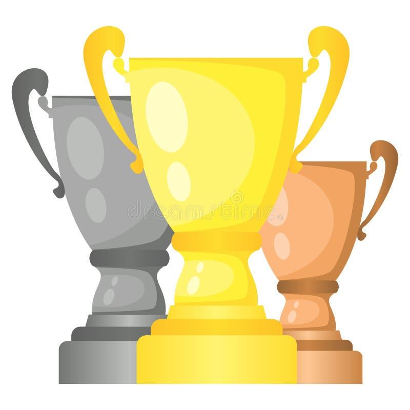 Sistema de tazas de campeón del trofeo del vector en oro, plata y bronce stock de ilustración