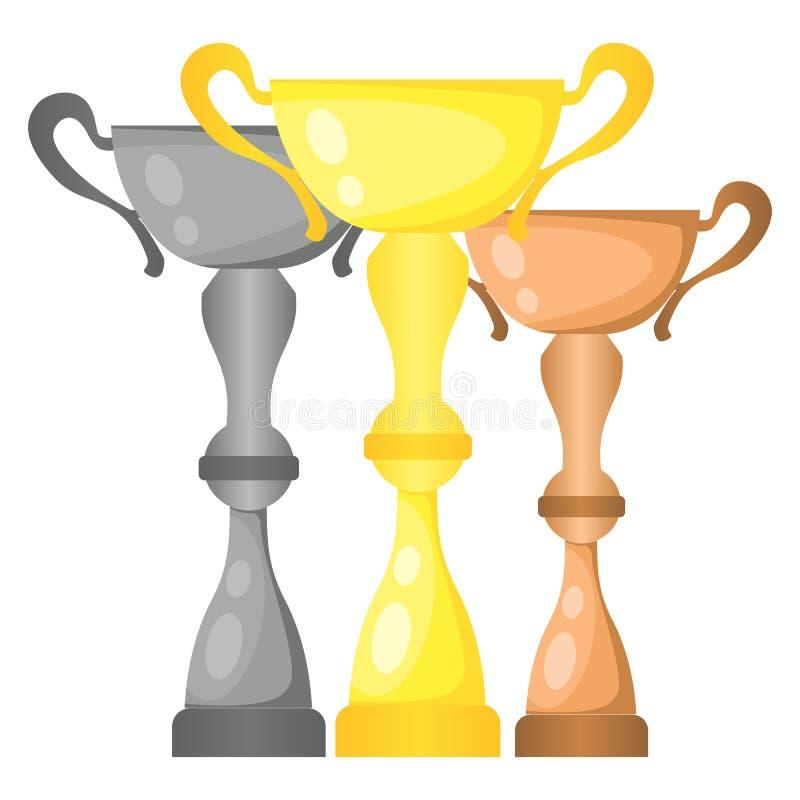 Sistema de tazas de campeón del trofeo del vector en oro, plata y bronce ilustración del vector