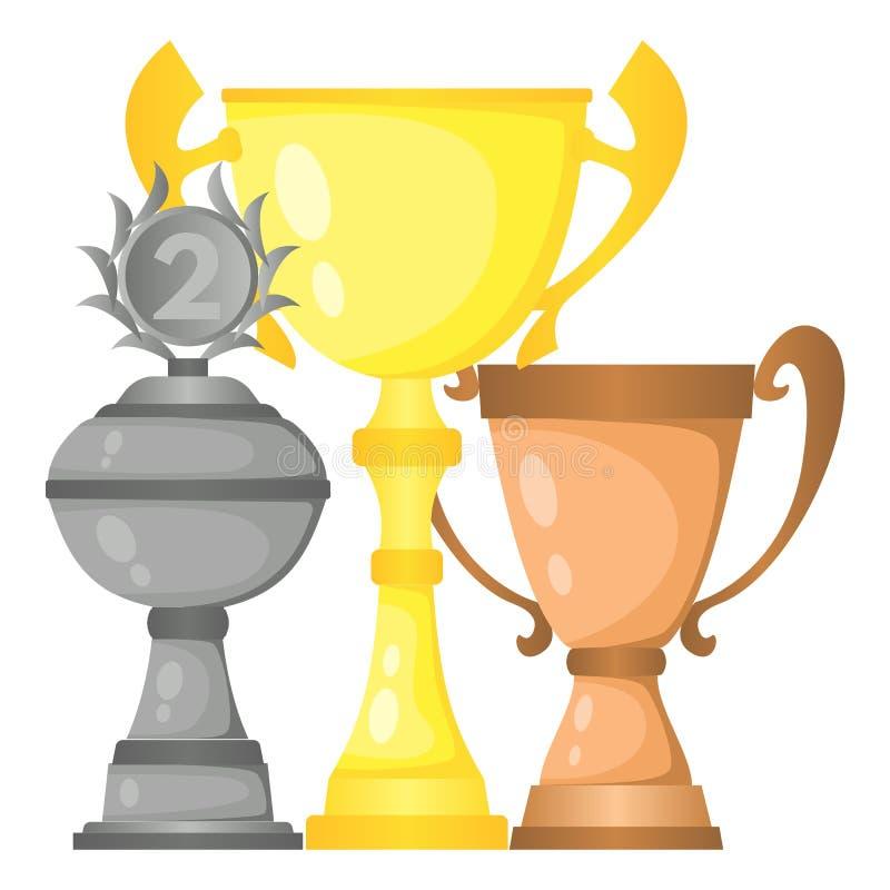 Sistema de tazas de campeón del trofeo del vector en oro, plata y bronce libre illustration