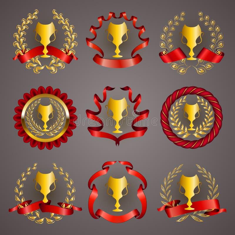 Sistema de tazas de lujo del oro libre illustration