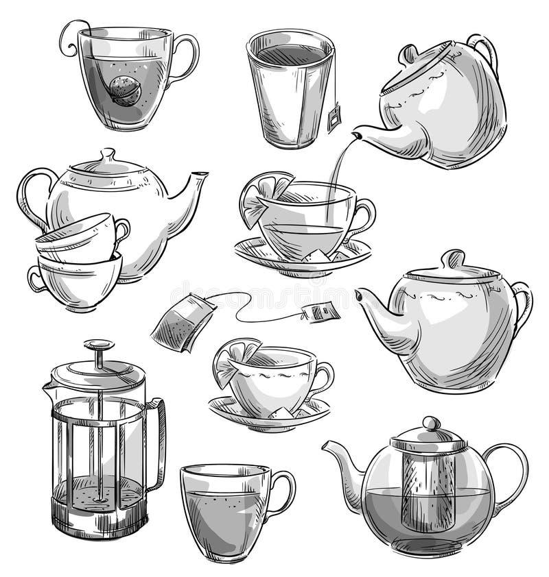 Sistema de tazas de té y de teteras Bosquejo del vector ilustración del vector