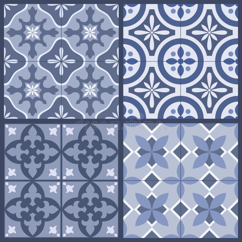Sistema de 4 tejas orientales portuguesas adornadas tradicionales stock de ilustración