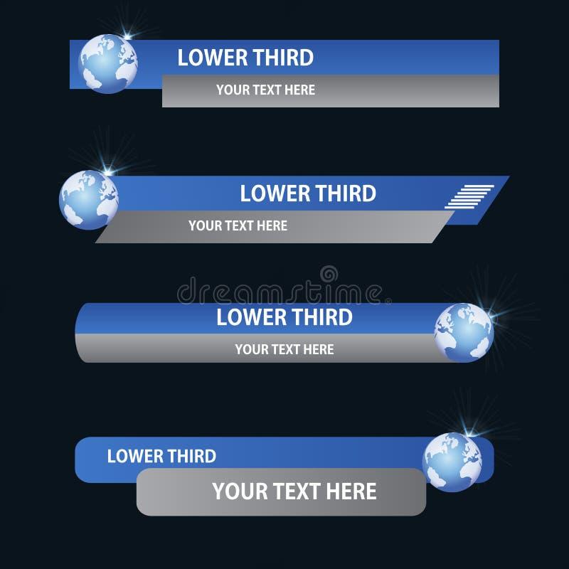 Sistema de tercer más bajo azul ilustración del vector