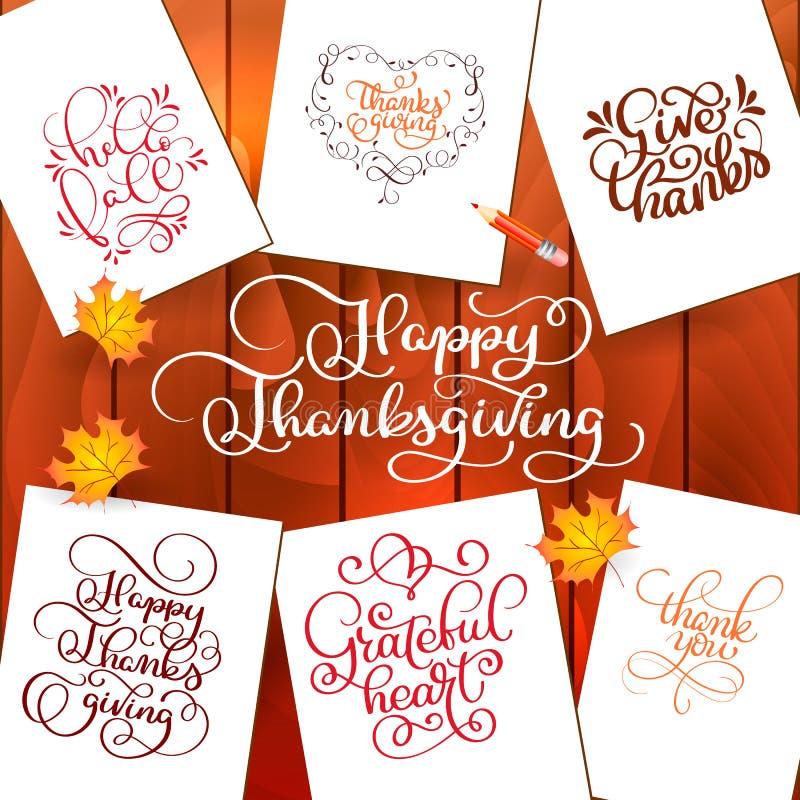 Sistema de textos dibujados mano del día de la acción de gracias La celebración cita acción de gracias feliz, hola fale, dando la libre illustration