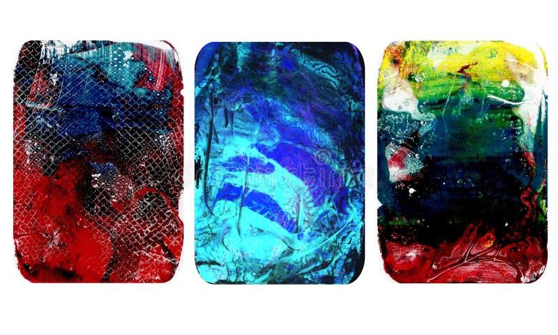 Sistema de texturas borrosas brillantes del extracto Los fondos hechos a mano coloridos con las impresiones de la flor, manchas,  stock de ilustración