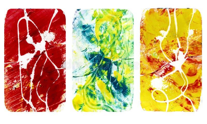 Sistema de texturas borrosas brillantes del extracto Los fondos hechos a mano coloridos con las impresiones, manchas, rascaron ár ilustración del vector