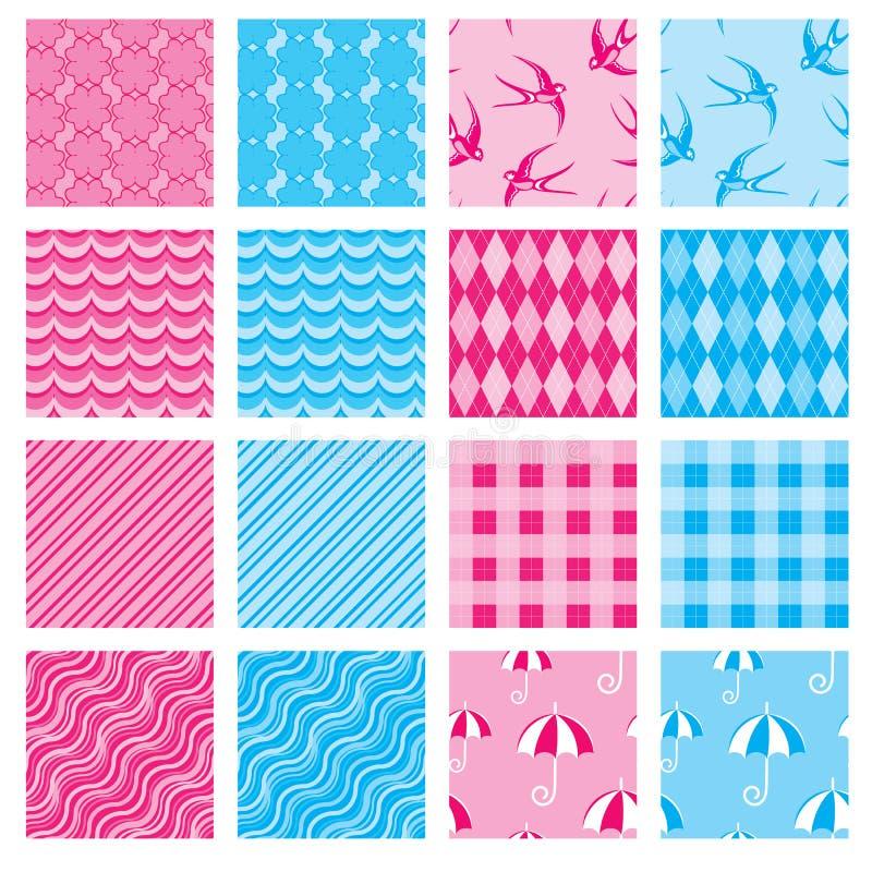 Sistema de texturas de la tela en colores rosados y azules libre illustration