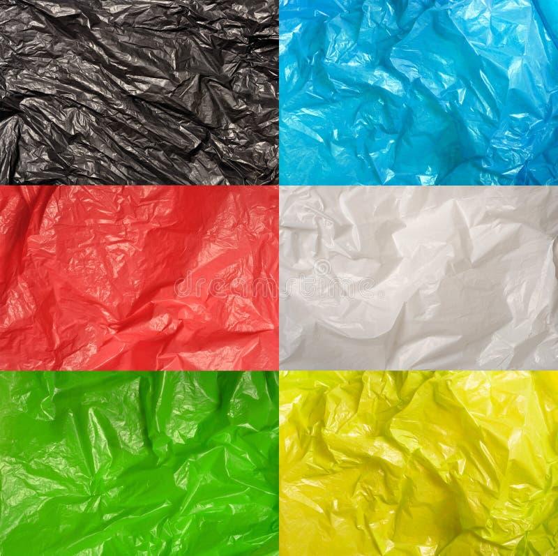 Sistema de texturas de las bolsas de plástico imágenes de archivo libres de regalías