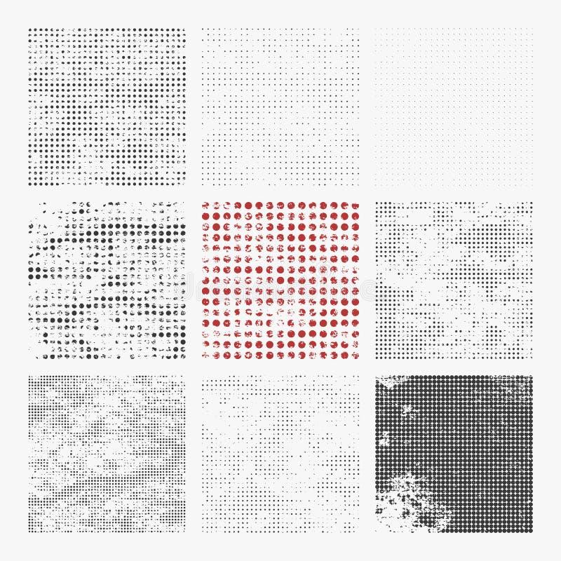 Sistema de texturas de semitono apenadas ilustración del vector