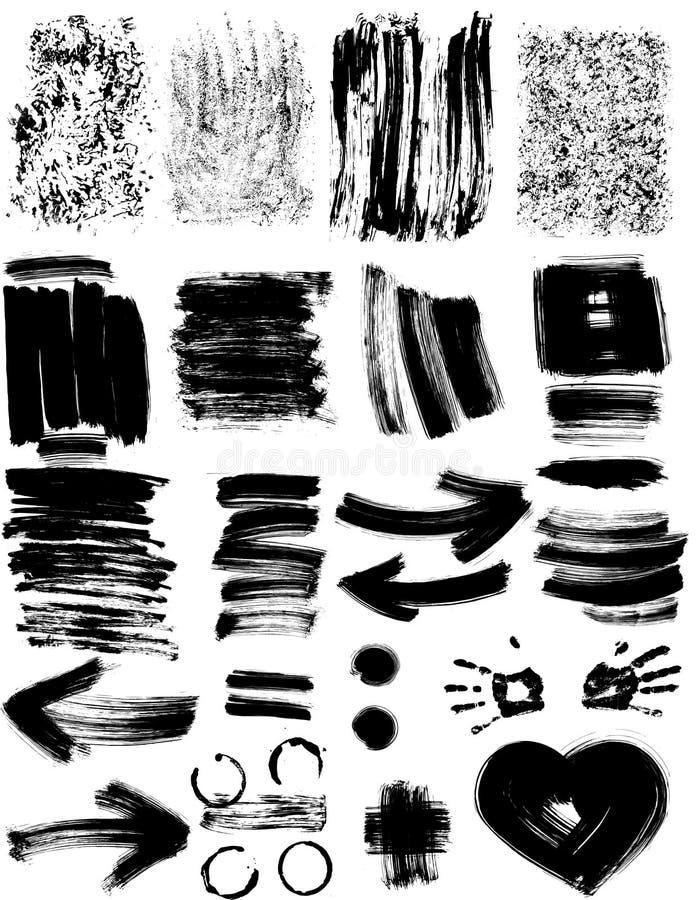 Sistema de texturas del grunge stock de ilustración