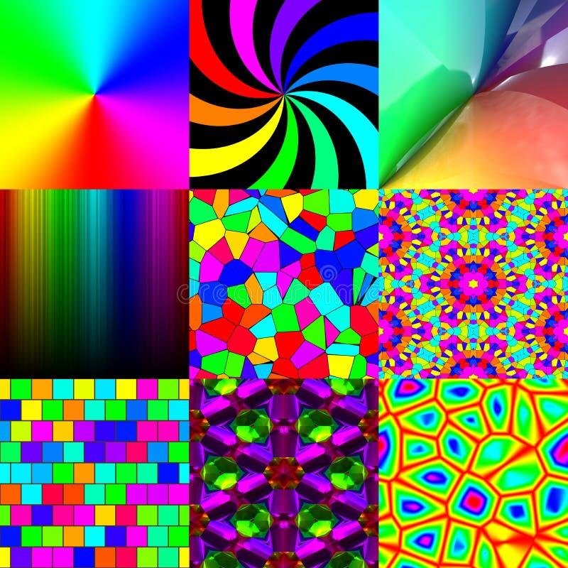 Sistema de texturas del modelo del arco iris stock de ilustración