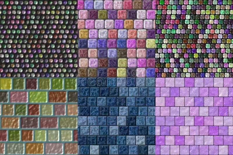 Sistema de texturas generadas inconsútiles de las tejas de cristal stock de ilustración