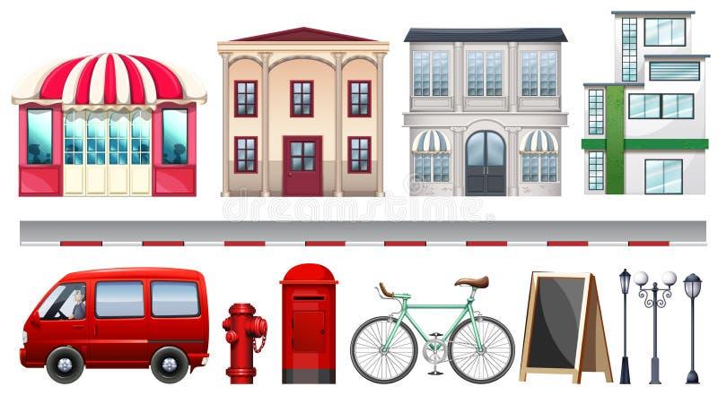 Sistema de tiendas y de transportes stock de ilustración